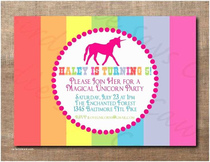 Unicorn Birthday Party Invitations Unicorn Birthday Party Custom Printable Invitation