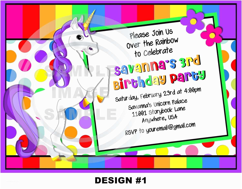 Unicorn Birthday Party Invitations Unicorn Birthday Party Invitations