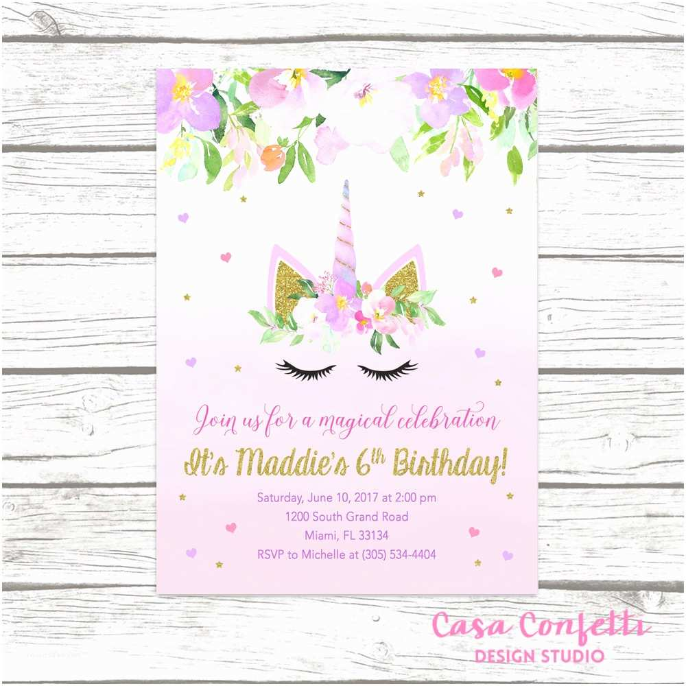 Unicorn Birthday Party Invitations Unicorn Invitation Unicorn Birthday Invitation Girl 1st