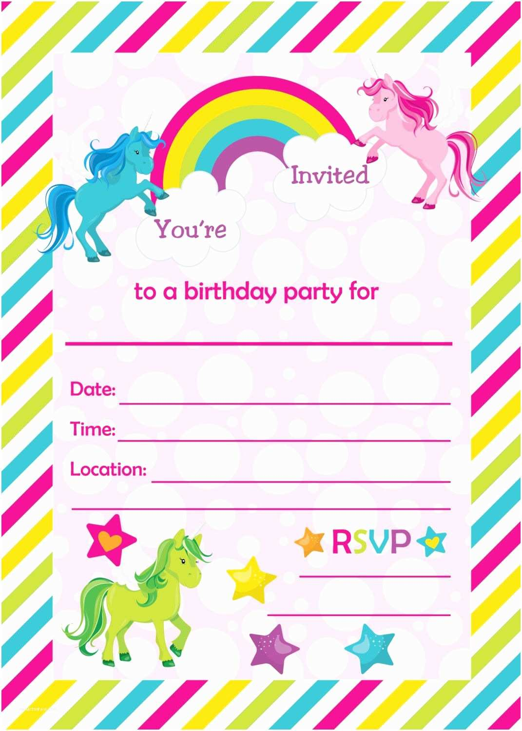 Unicorn Party Invitations Fill In Birthday Party Invitations Printable Rainbows and