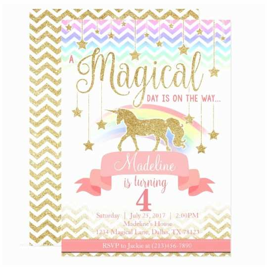 Unicorn Party Invitations Magical Rainbow Unicorn Birthday Party Invitation