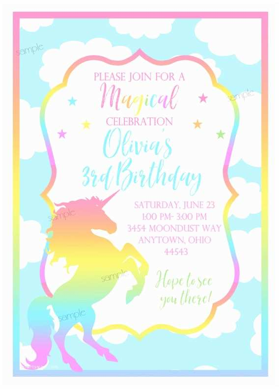 Unicorn Party Invitations Pastel Unicorn Invitations Unicorn Birthday Party Unicorn