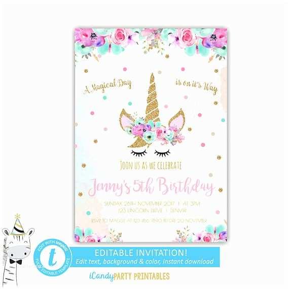 Unicorn Party Invitations Pink Invitation Rainbow Birthday Invite