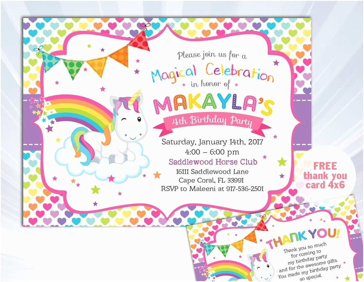 Unicorn Party Invitations Rainbow Unicorn Invitation Unicorn Birthday Invitation
