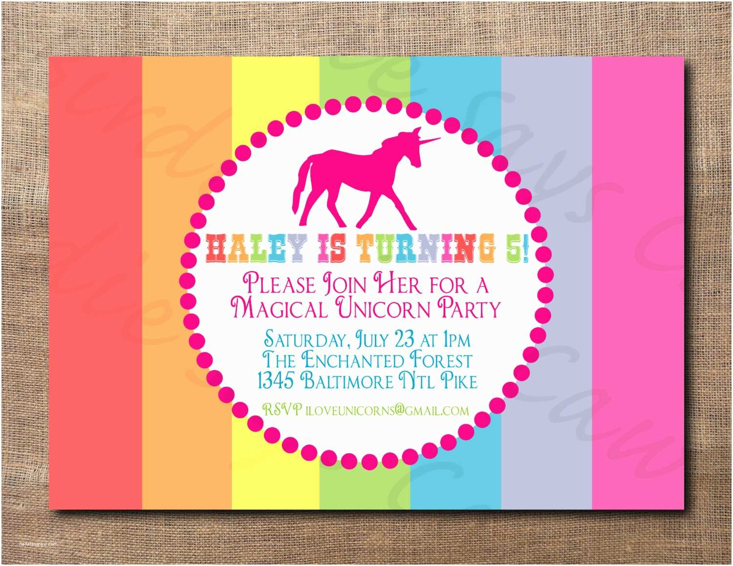 Unicorn Party Invitations Unicorn Birthday Party Custom Printable Invitation