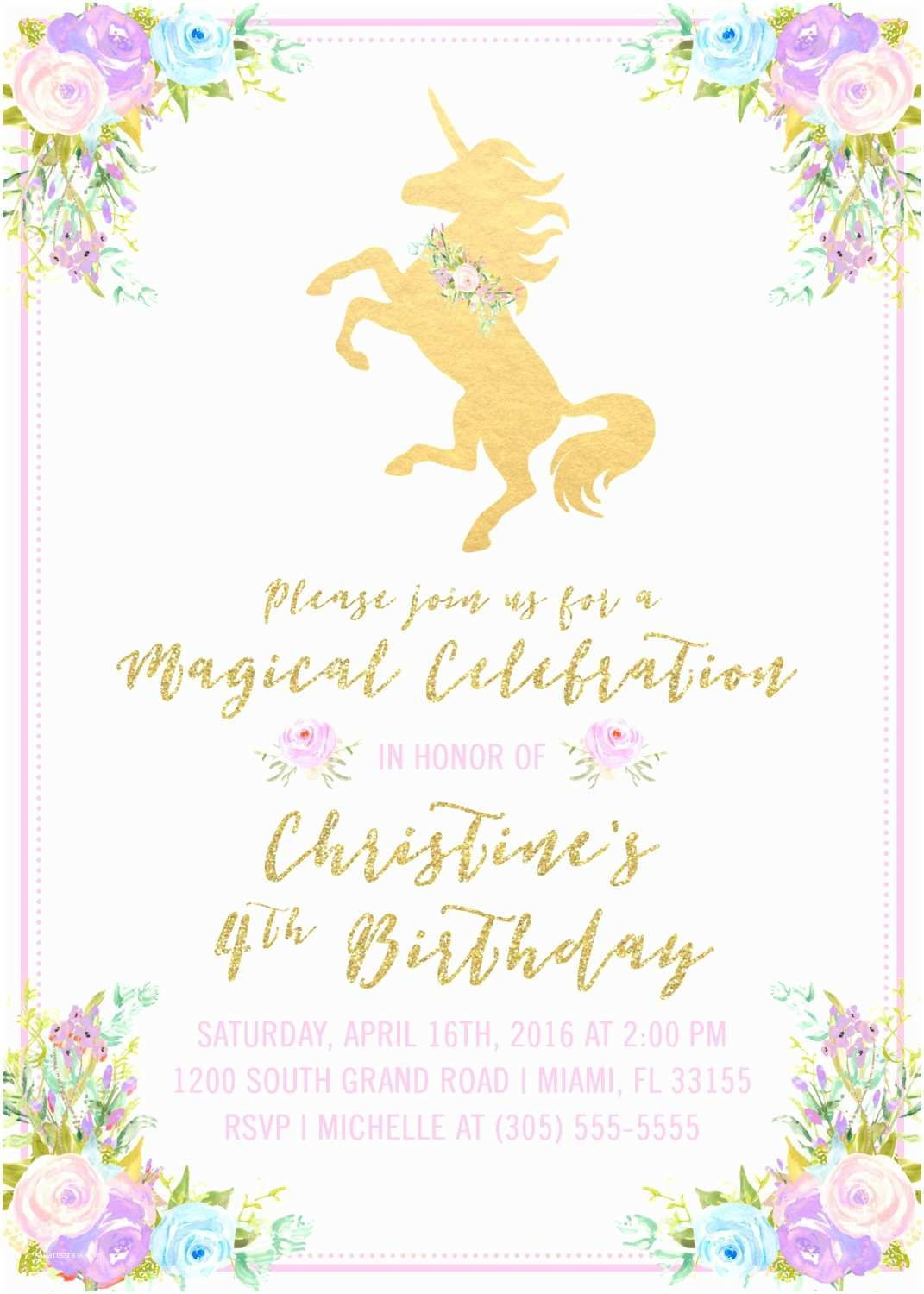 Unicorn Party Invitations Unicorn Invitation Unicorn Birthday Invitation Girl 1st