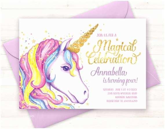 Unicorn Party Invitations Unicorn Invitation Unicorn Birthday Invitation Unicorn Party