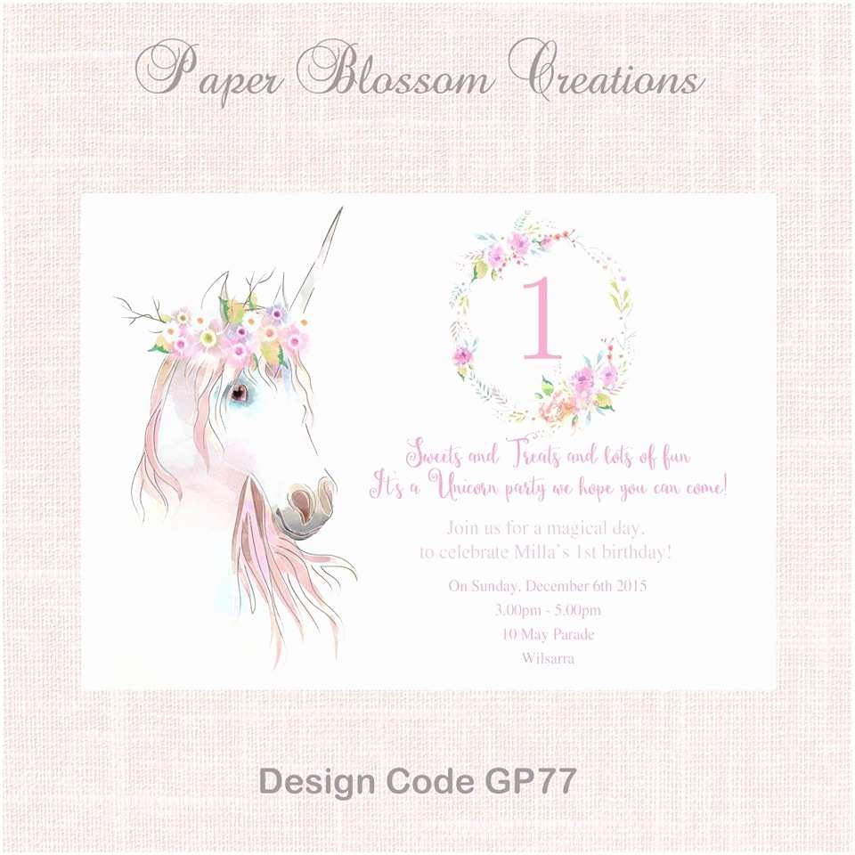 Unicorn Party Invitations Unicorn Party Invitation Paper Blossom Creations