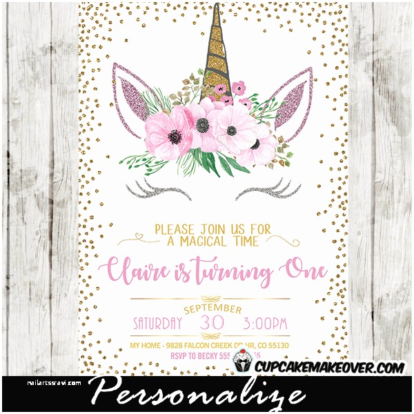 Unicorn Party Invitations Unicorn Party Invitations Printable Pink Floral Gold