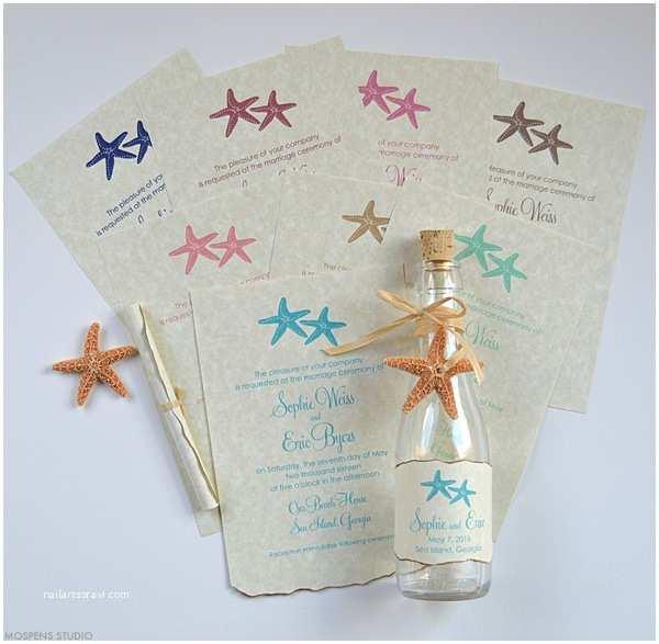 seaside stars bottle invitation