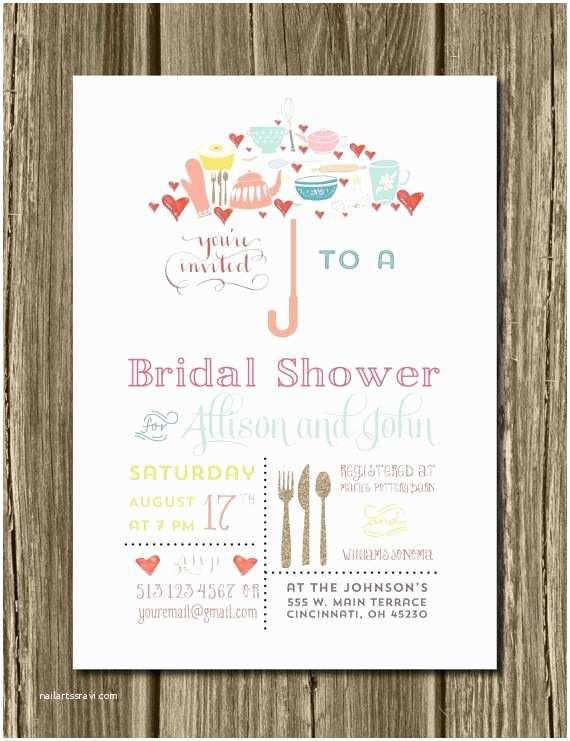 Unique Bridal Shower Invitations Umbrella Bridal Shower Invitations & Recipe Card Wedding