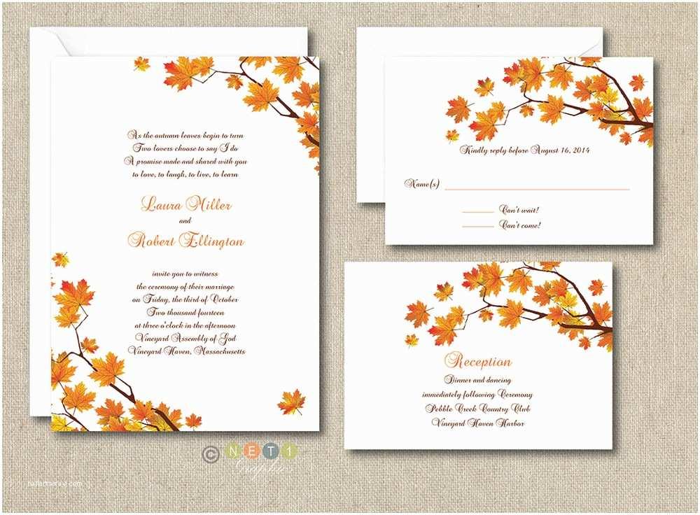 Unique Fall Wedding Invitations 100 Personalized Custom Fall Autumn Wedding Invitations