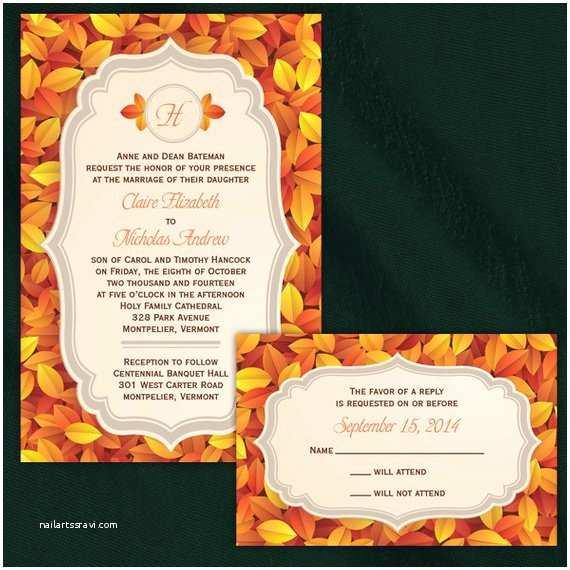 Unique Fall Wedding Invitations Custom Elegant Fall Wedding Invitations
