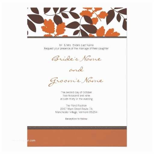 "Unique Fall Wedding Invitations Custom Fall Wedding Invitation 5"" X 7"" Invitation Card"
