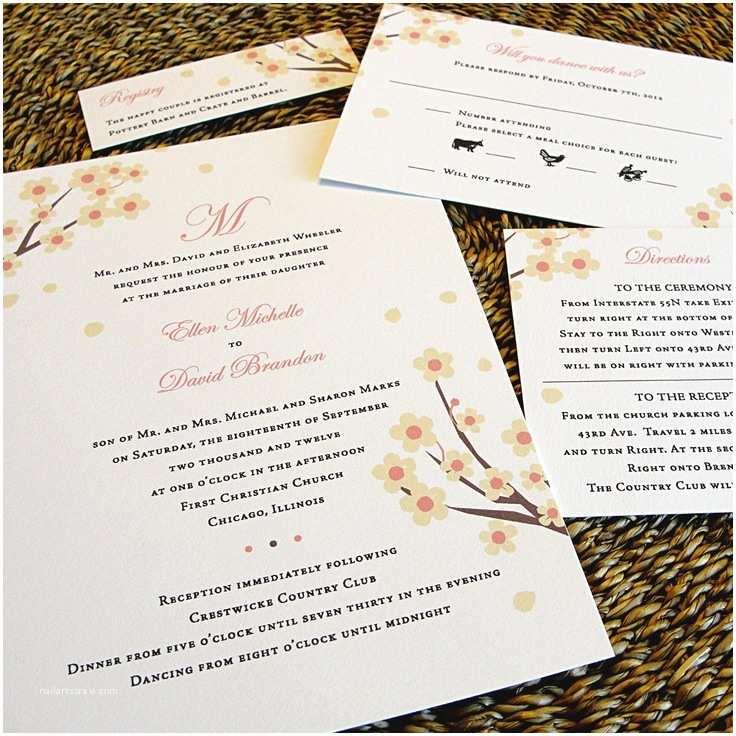 Unique Fall Wedding Invitations Dogwood Cherry Blossoms Monogram Custom Unique Wedding