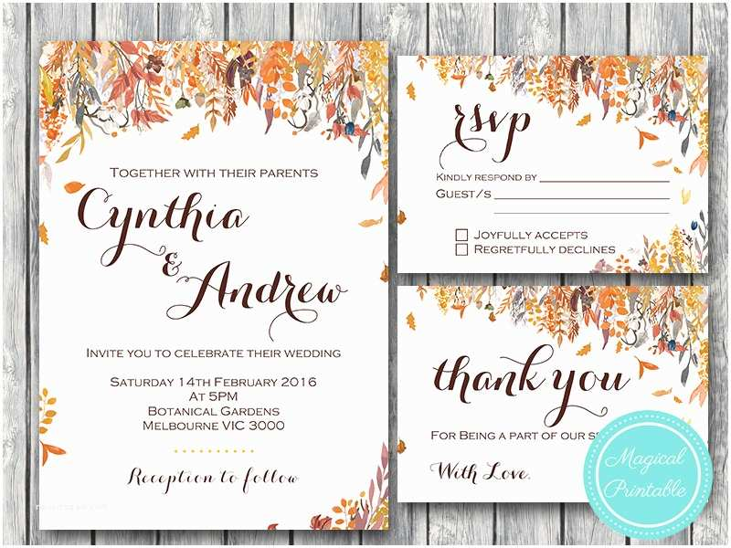 Unique Fall Wedding Invitations Fall Autumn Wedding Invitation Rsvp Engagement Party Invite
