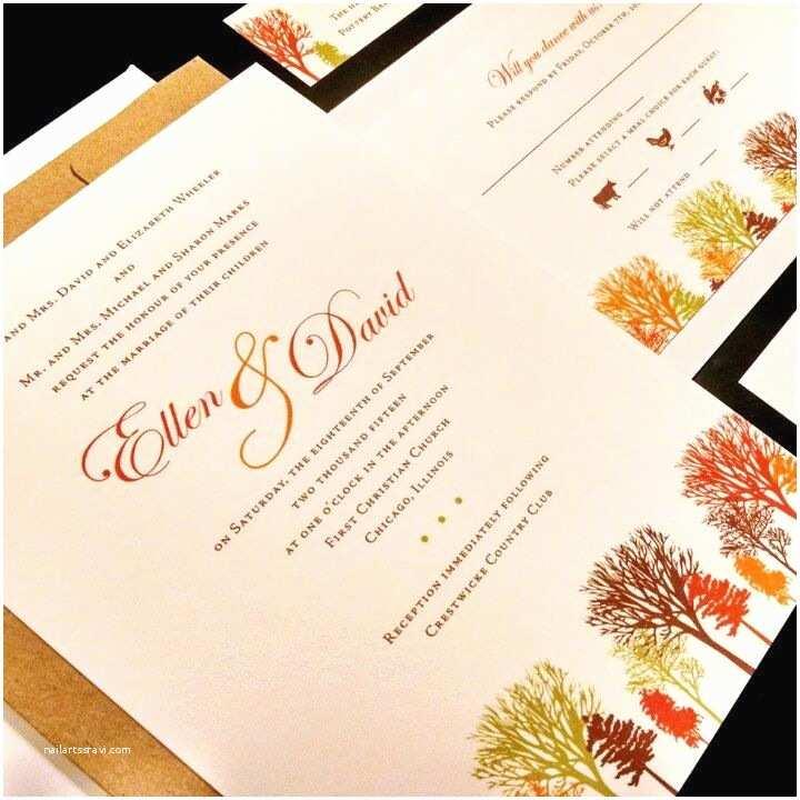 Unique Fall Wedding Invitations Fall Tree Custom Unique Wedding Invitation Pine Oak
