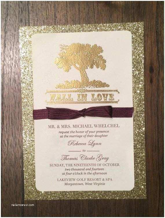 """Unique Fall Wedding Invitations Gold Glitter Custom Wedding Invitation """"fall In Love"""