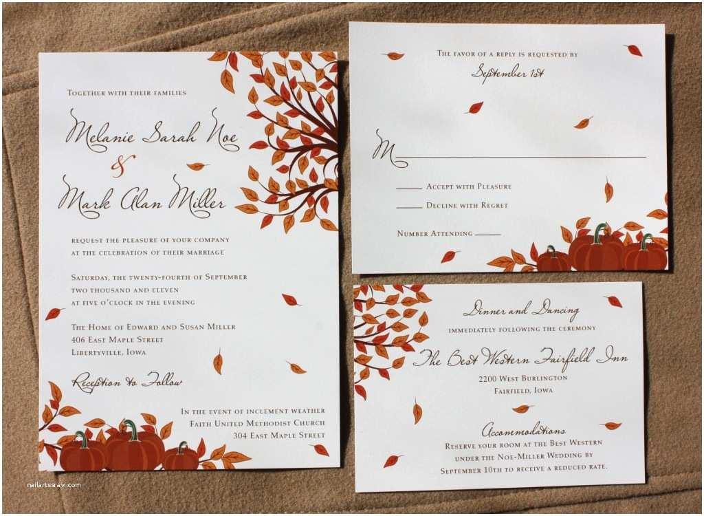 Unique Fall Wedding Invitations orange Fall Pumpkin and Falling Leaf Wedding Invitations