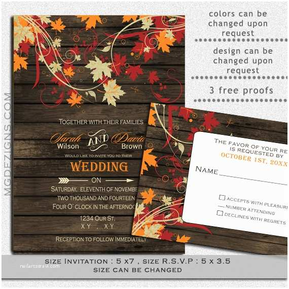 Unique Fall Wedding Invitations Printable Wedding Invitation Template Fall Wedding by
