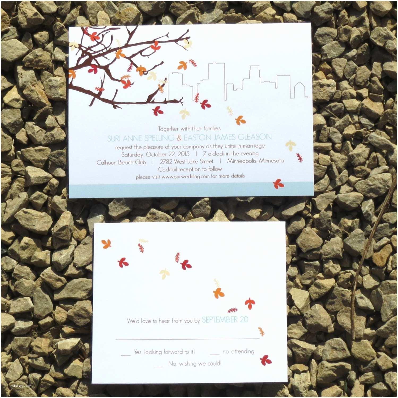 Unique Fall Wedding Invitations Skyline Fall Wedding Invitations Custom Fall Wedding