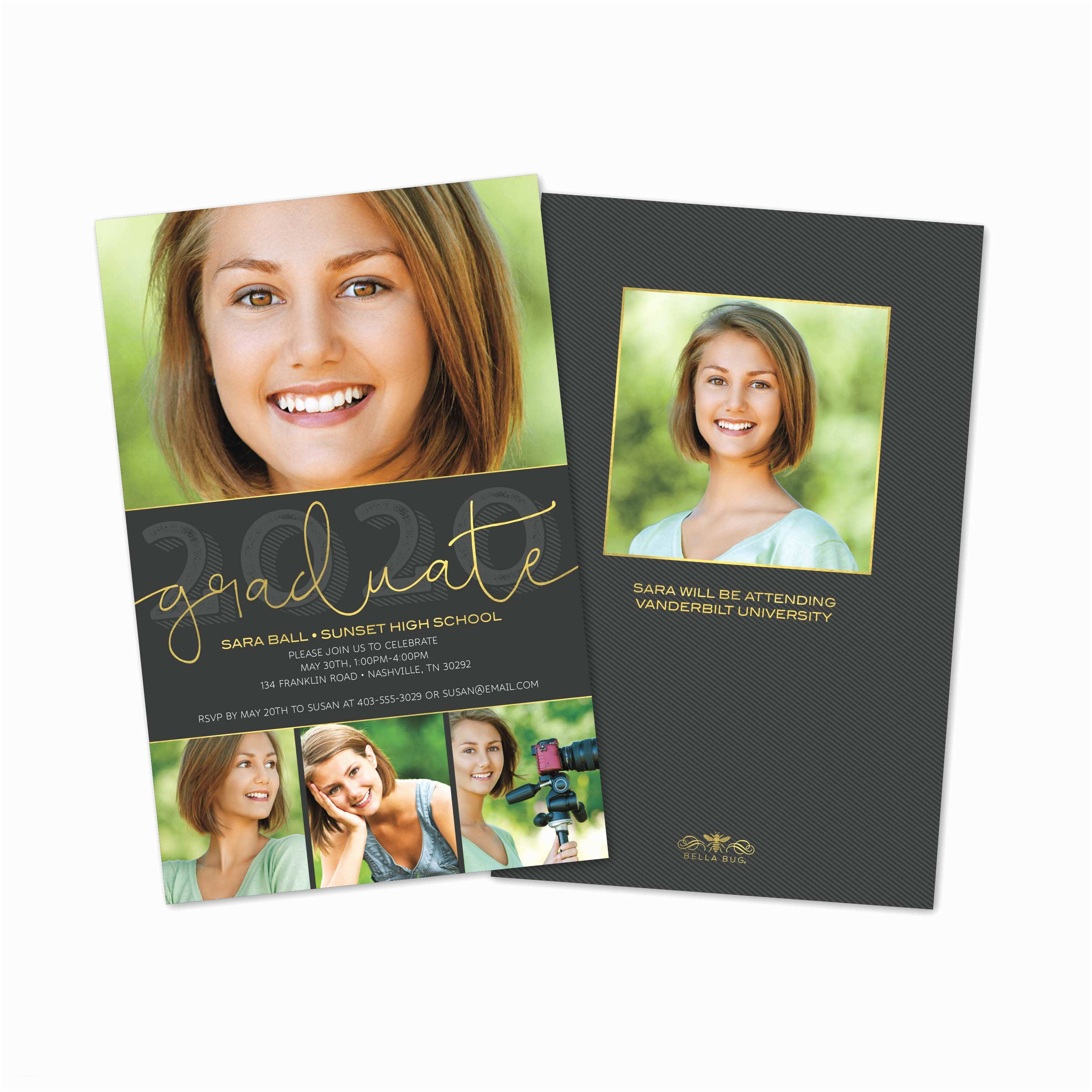 Unique Graduation Invitations 5 Photo Personalized Graduation Invitation – Bella Bug