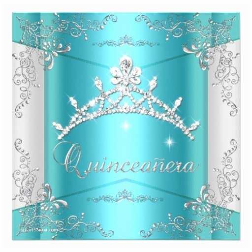 Unique Quinceanera Invitations Quinceanera 15th Teal Blue Silver Tiara Invitation