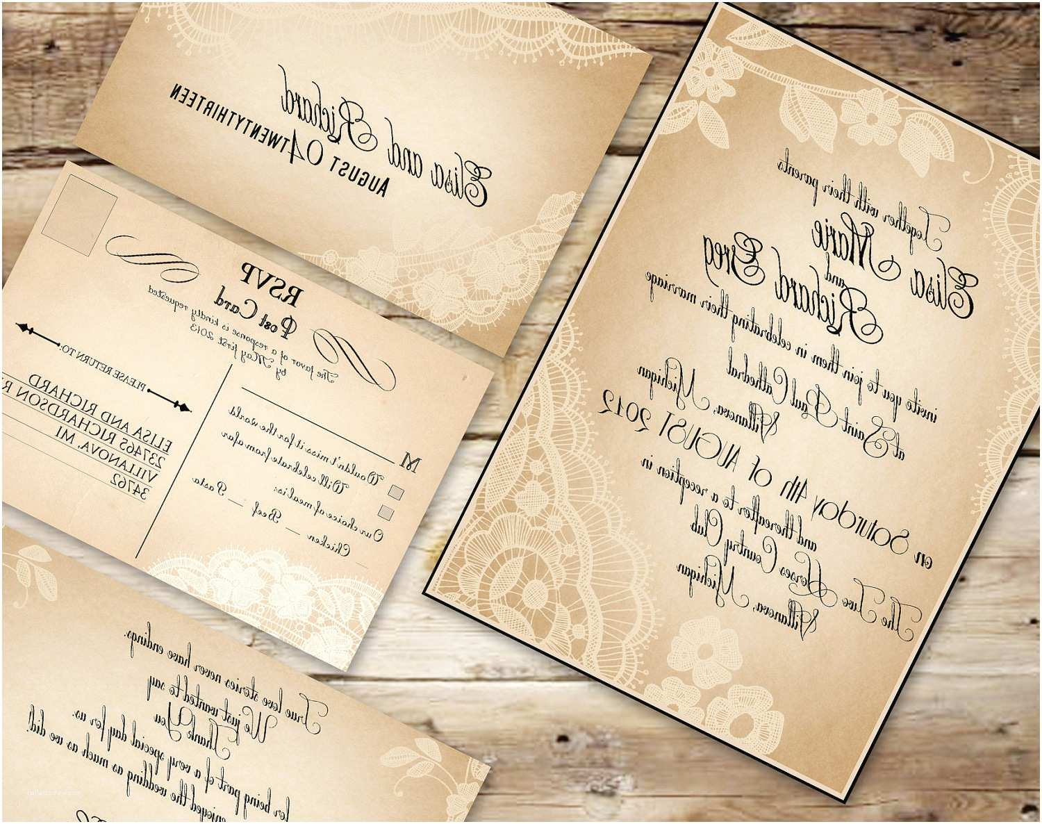 Unique Wedding Invitations Online Brown Background Rustic Font Printable Wedding Invitation