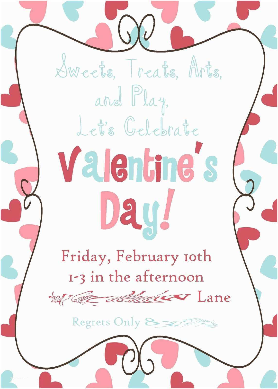 Valentine Party Invitations Adorable Valentines Day Celebration Invitation Card