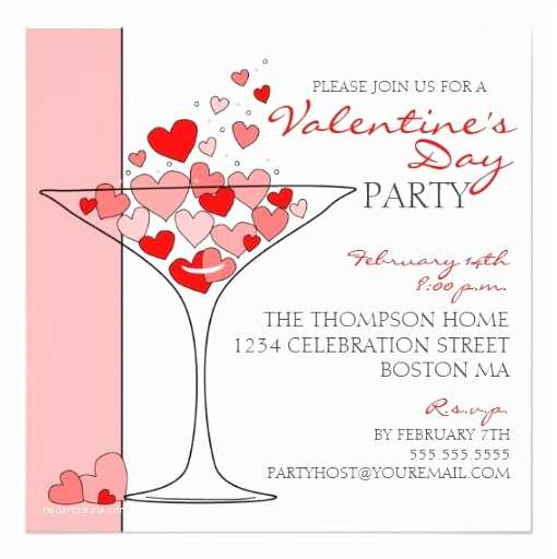 Valentine Party Invitations Valentine Party Heart Love Cocktail Invitation Square