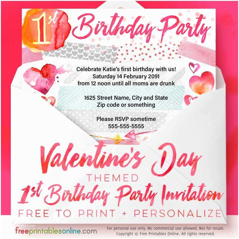 Valentines Day Party Invitations Valentine S Day 1st Birthday Party Invitations