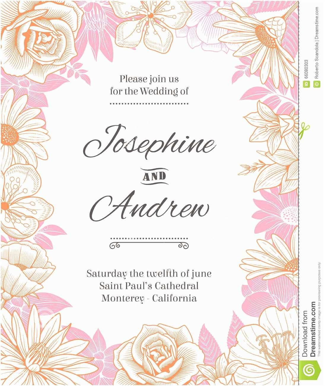 Vector Flowers for Wedding Invitations Vector Flower Frame Wedding Invite Stock Vector