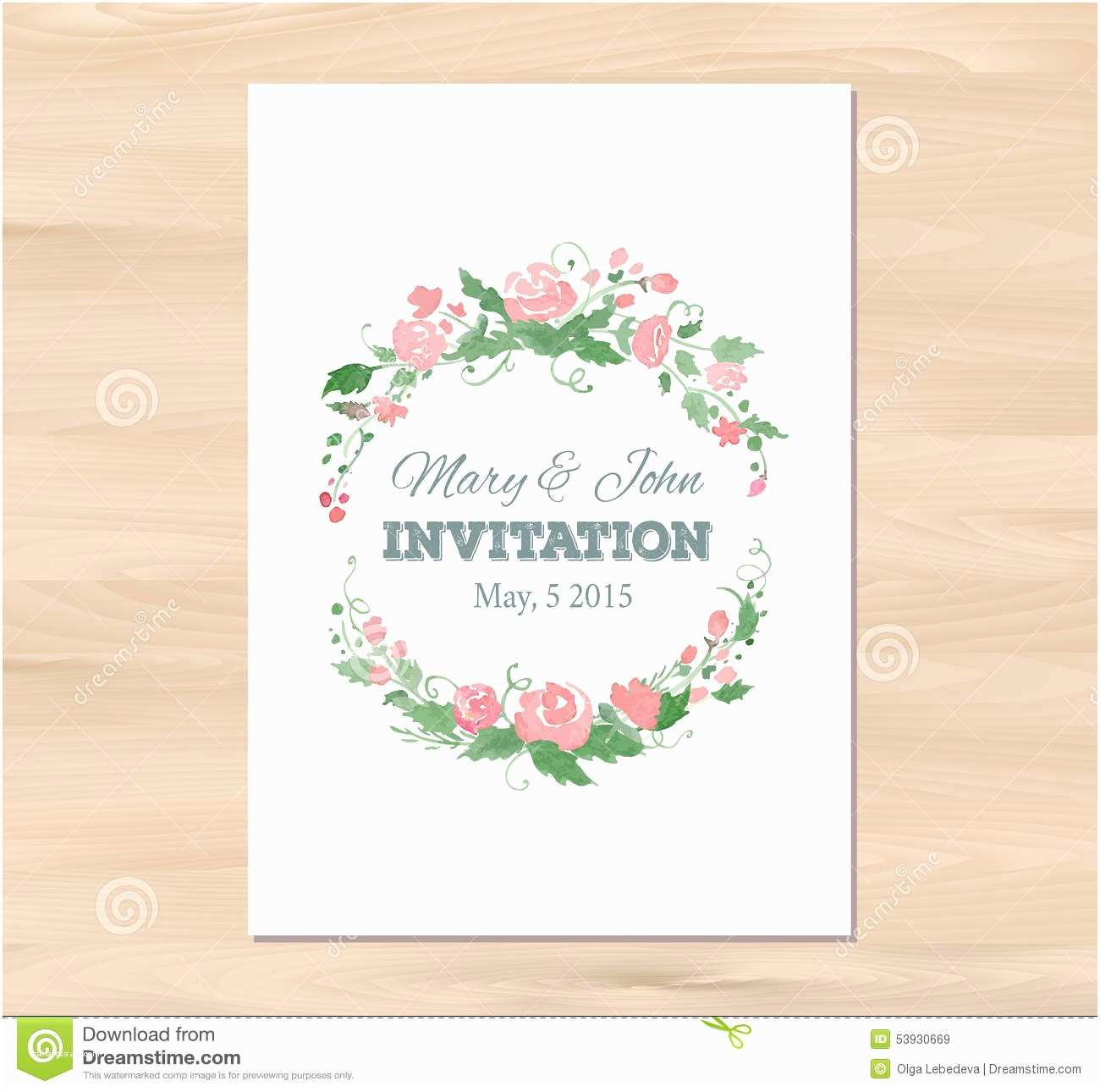Vector Flowers for Wedding Invitations Vector Wedding Invitation with Watercolor Flowers Stock