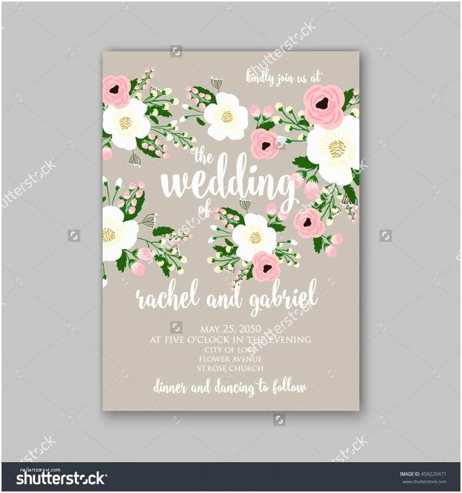 Vector Flowers for Wedding Invitations Wedding Card Invitation with Abstract Floral Background