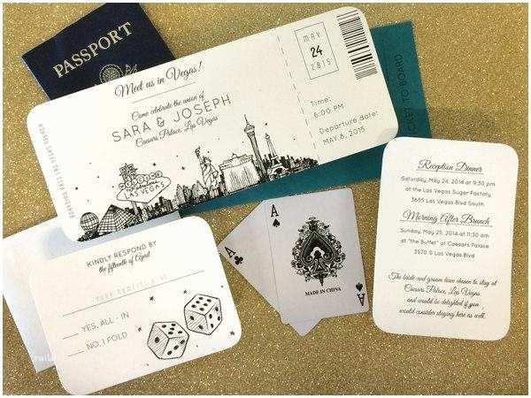 Vegas Wedding Invitations Las Vegas Skyline Plane Ticket Wedding Invitation