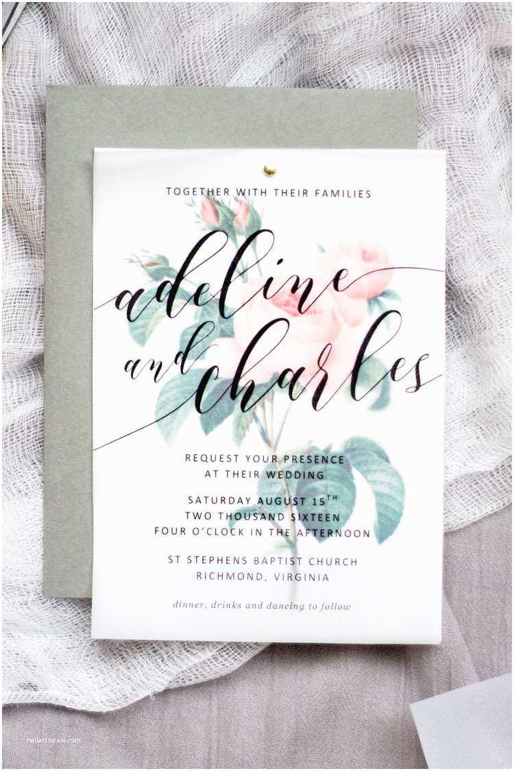 Vellum Wedding Invitations Diy Floral Wedding Invitations