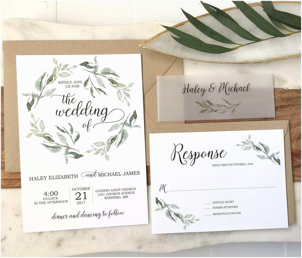 Vellum Wedding Invitations Modern Greenery Wedding Invitation Vellum Belly Band