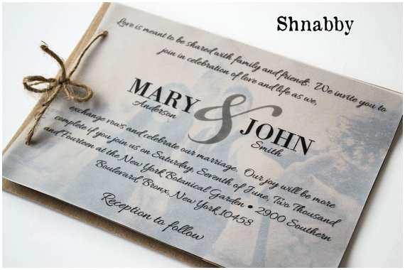 Vellum Wedding Invitations Rustic Kraft Paper Wedding Invitation Set with Vellum Overlay
