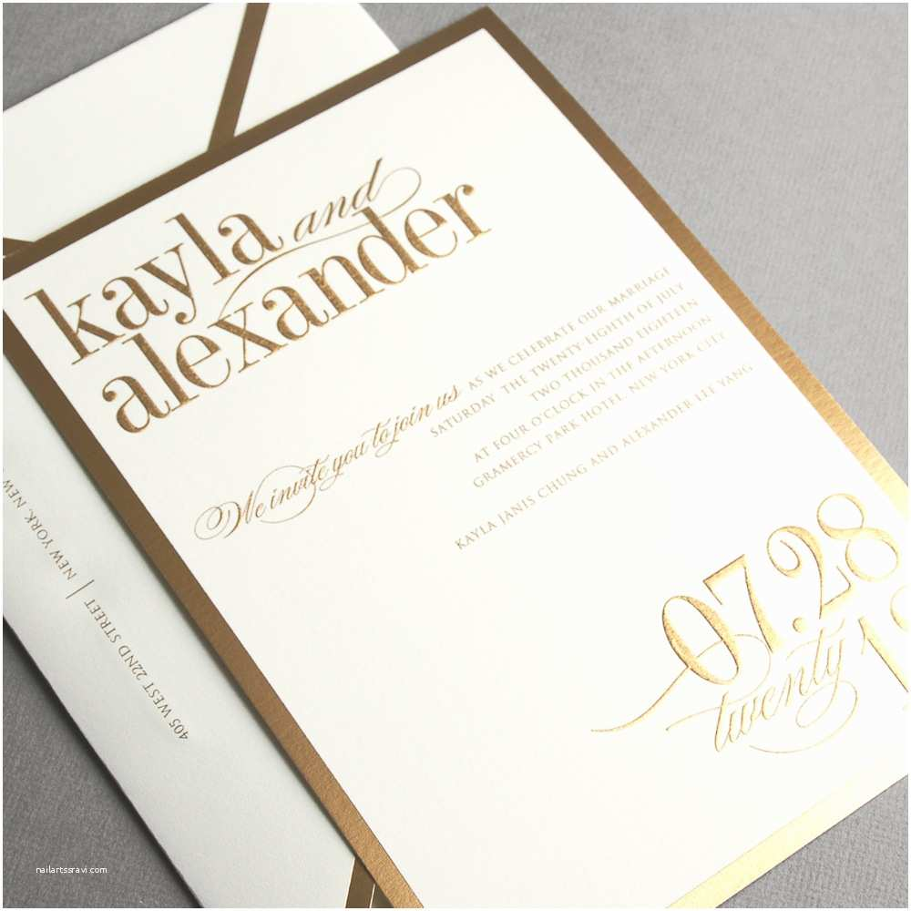 Vera Wang Wedding Invitations Vera Wang Gold Bordered Oyster Wedding Invitation Poemepoeme