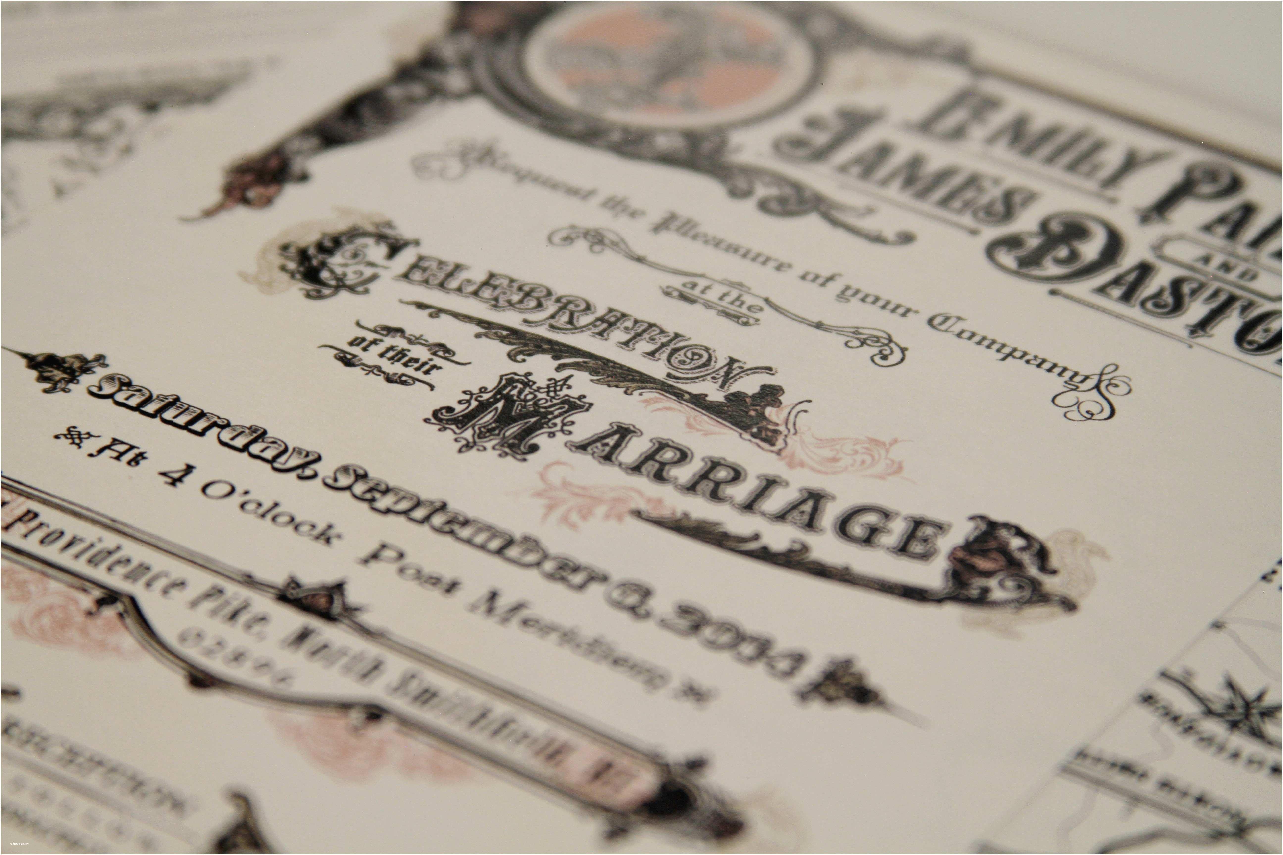 rustic victorian scroll wedding invitations