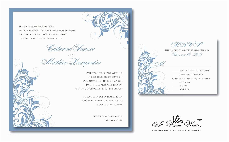 Victorian Wedding Invitations Slate Blue Wedding Invitation with Vintage Design – A