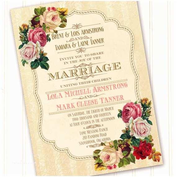 Victorian Wedding Invitations Victorian Wedding Invitation Classic Victorian Bridal Shower