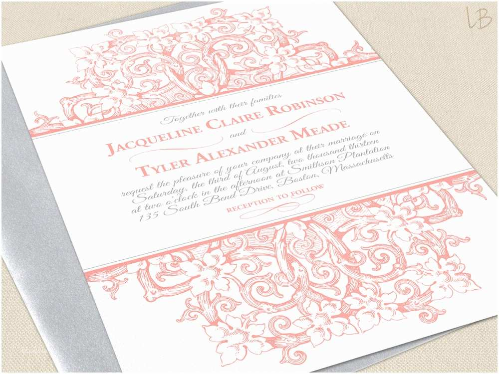 Victorian Wedding Invitations Victorian Wedding Invitation Sample Coral by Lbcreativepaper