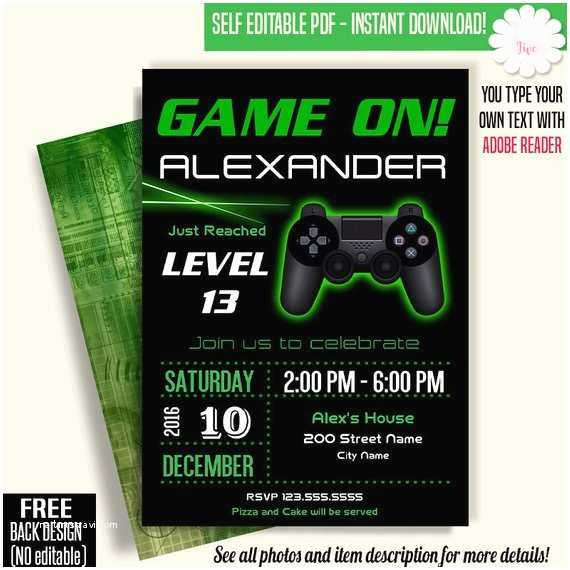 Video Game Party Invitations Game On Invitation Video Game Party Invitation Gaming