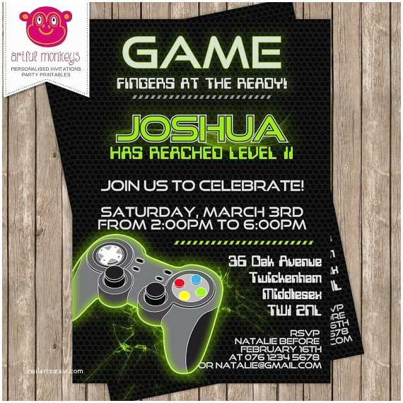 Video Game Party Invitations Personalised Video Game Party Invitation Diy by Artfulmonkeys