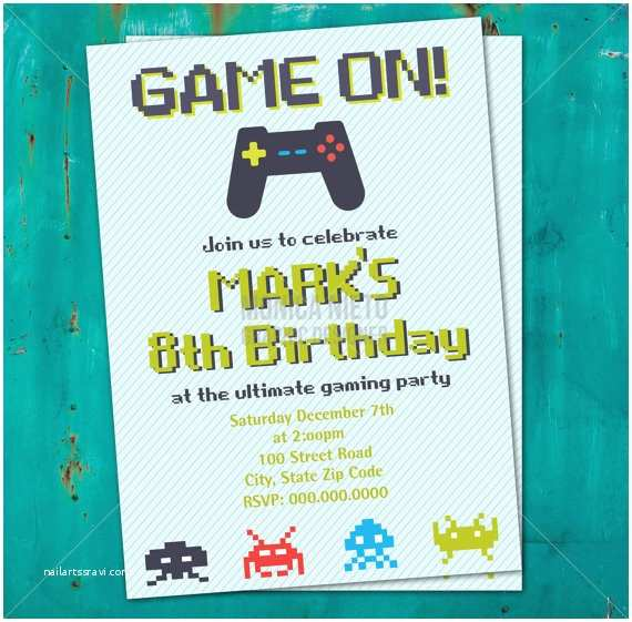 Video Game Party Invitations Printable Video Game Birthday Invitation 8 Bit Invitation