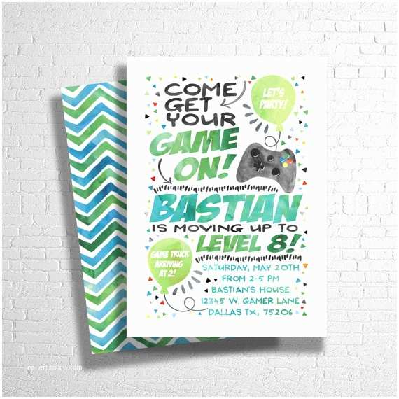 Video Game Party Invitations Video Game Birthday Invitation Custom Video Game Invitation
