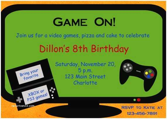 Video Game Party Invitations Video Game Birthday Party Invitation Video by