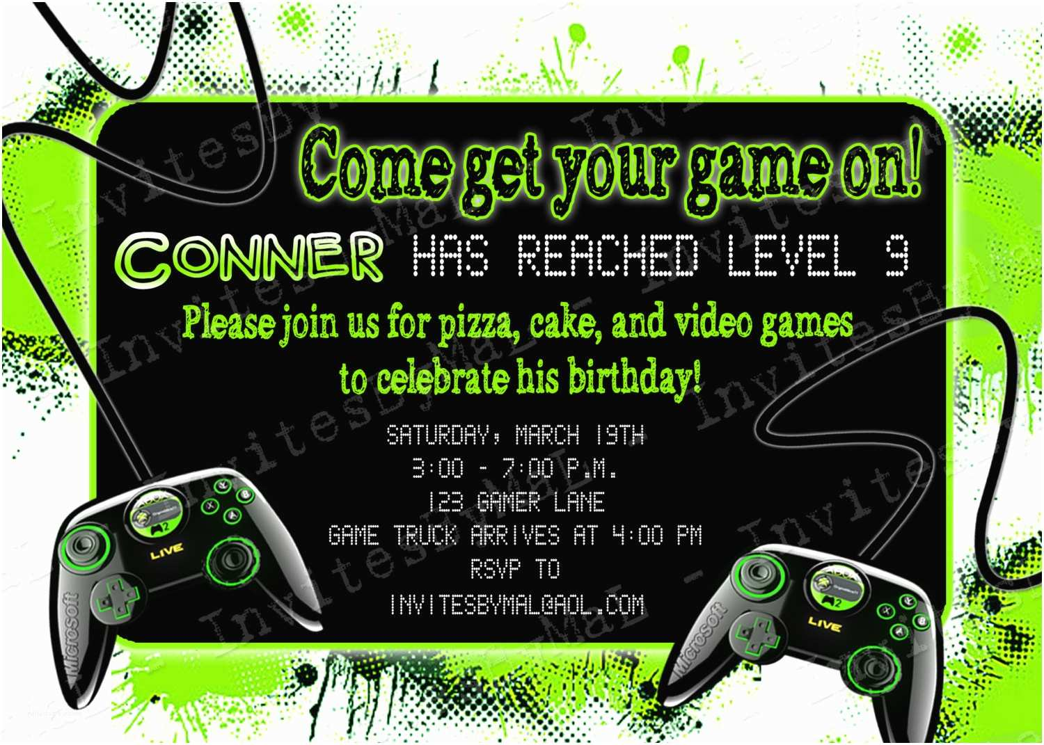 Video Game Party Invitations Video Game Party Birthday Party Invitation with or by
