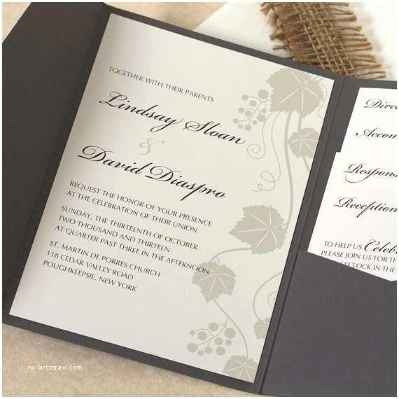 Vineyard Wedding Invitations Grape Vine Wedding Invitation Vineyard Wedding Invitation